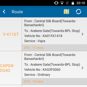 Screenshot of the BMTC app showing KA01FA1418 on route 411GT