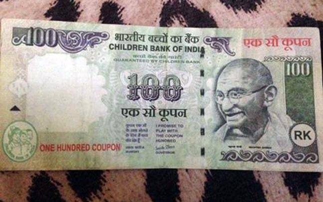 The Fake 100 Coupon Note, signed by Santa Claus of the Children's Bank of India.