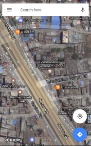 A Google Maps Screenshot of the Junction of Mangammapalya Main Road and Hosur Road at Bommanahalli.