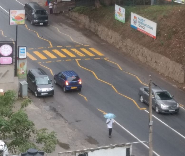 Lane Markings at Kandy, Sri Lanka